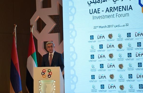 Serzh Sarkisian addresses UAE–Armenia Investment Forum on March 22, 2017 in Abu Dhabi (Photo: Press Office of the President of Armenia)
