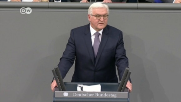 Frank-Waltere Steinmeier delivering maiden speech as president on March 22, 2017 in Berlin. (Photo: Deutsche Welle)