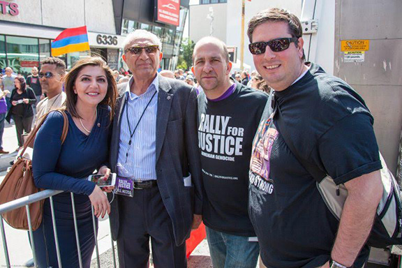 President Zimmer at the 2016 Rally for Justice Commemorating the 101 Anniversary of the Armenian Genocide with ANCA-WR Executive Director Elen Asatryan, ANCA-WR Advisory Board Member Karo Khanjian and Glendale City Clerk Ardashes Ardy Kassakhian