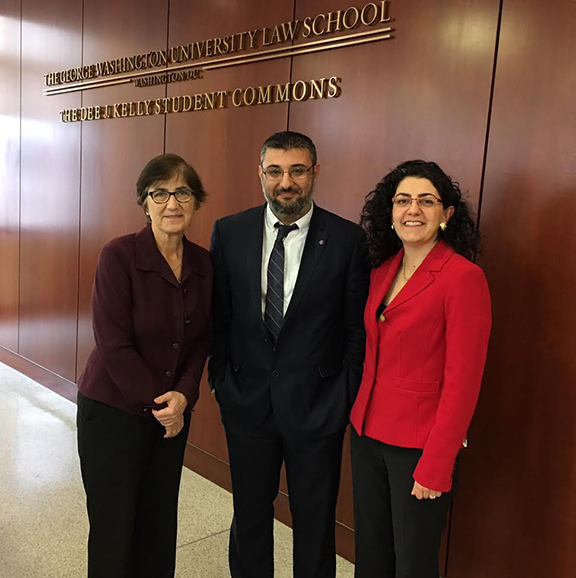 (From left to right) Associate Dean Susan Karamanian, Dr. Ümit Kurt, and Kate Nahapetian