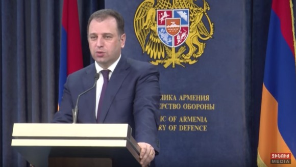 Armenian Defense Minister Vigen Sargsyan speaks during press conference with Russian media (Photo: Zinuzh Media/YouTube Screenshot)