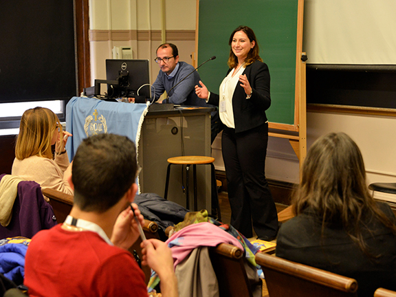 The ANCA's Tereza Yerimyan sharing information about the ANCA Leo Sarkisian Summer Internship Program and the ANCA Hovig Apo Saghdejian Capital Gateway Program at the ARS Youth Connect program, held at Columbia University. (Photo by Zenop Pomakian, Zenproimage Photography)