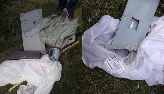The Artsakh Defense Ministry release photos of the Azerbaijani drone shot down by Karabakh forces Saturday