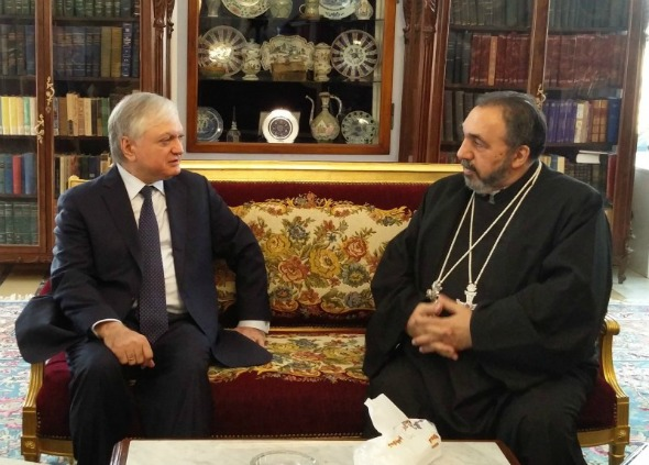 Armenian Foreign Minister Edward Nalbandian meets with Armenian Patriarch of Jerusalem Nurhan Manougian