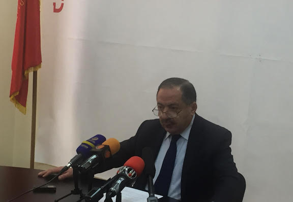 ARF's Aghvan Vardanyan at a press conference on Friday