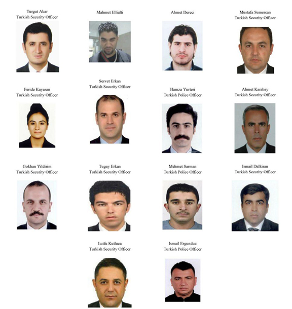The 14 Turkish citizens, some part of Erdogan's security details, who are wanted by US officials