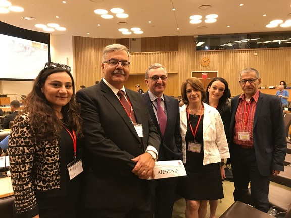 Members of the ARF delegation with H. E. Mr. Zohrab Mnaksakanian, Armenia's Permanent Representative to the UN