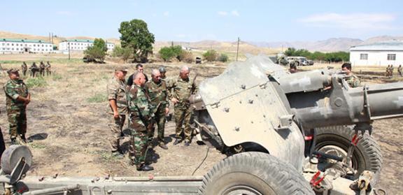 Artsakh President Bako Sahakian during Tuesday's inspection of frontline troops