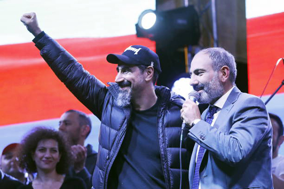 Serj Tankian (left) with then popular movement leader Nikol Pashinyan on May 7 in Republic Square a day he was elected prime minister