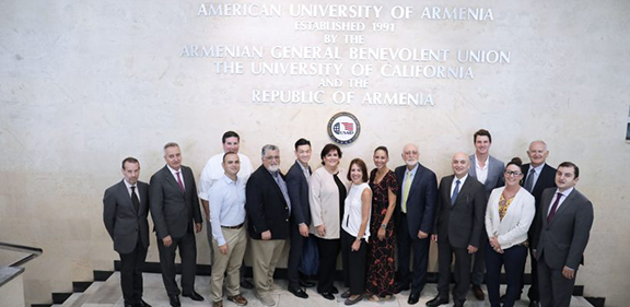Members of the California legislative delegation and the ANCA-WR at the American University of Armenia on September 6