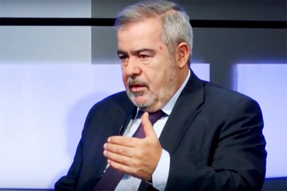 ARF Bureau Chairman Hrant Markarian while being interviewed by Ararat TV.