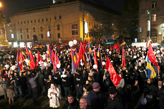 A scene from the ARF campaign kick off rally in Yerevan on Monday