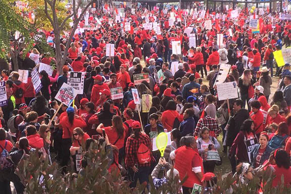 Los Angeles Unified School District teachers went on strike on Jan. 14.
