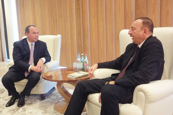 Rabbi Marc Schneier met with Azerbaijani President Ilham Aliyev during a visit in 2015