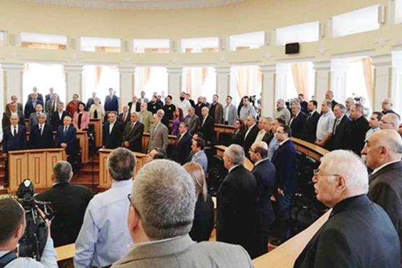 Participants of the Armenia-Artsakh Strategic Treaty Forum in Stepanakert on May 7