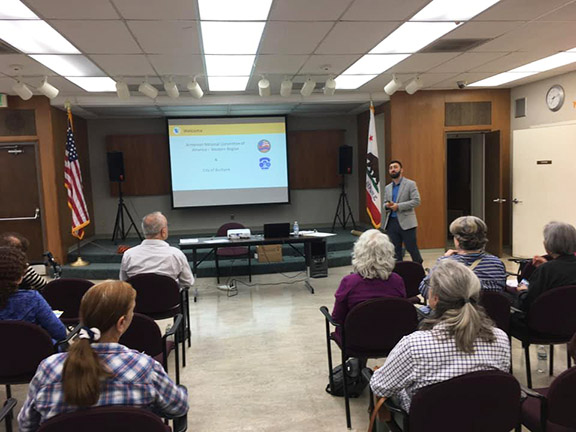 ANCA-WR Government Relations Coordinator Serob Abrahamian facilitating the Community Meeting at the Burbank Public Library