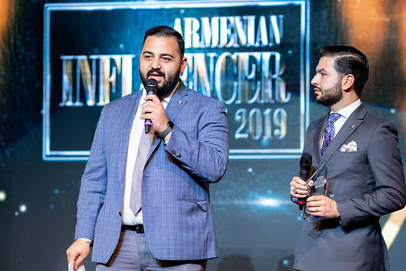ANCA-WR's Joseph Kaskanian and Armen Sahakyan take the stage at the 2019 Armenian Influencer Awards