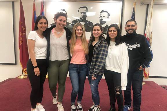 AYF Youth Corps scholarship winners. From l to r: Lara Markarian, Marinor Balouzian, Mariam Nerses, Naira Gourdikian, Michelle Tervandian, and Harutyun Demirjian