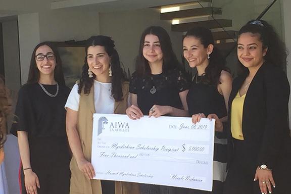 Scholarship recipients, from l to r: Grace Raphaella Vertanessian, Julie Poladian, Tara Rose Kessedjian, Meghmik Harabedian, Nora Galoustian