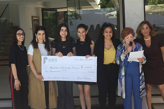 Scholarship recipients   from l to r: Grace Raphaella Vertanessian, Julie Poladian, Tara Rose Kessedjian, Meghmik Harabedian, Nora Galoustian with Chair of the Scholarship Committee, Lily Balian and President of AIWA-LA, Nicole Nishanian