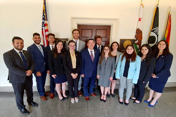 Rep. TJ Cox (D-CA) with ANCA Government Affairs Director Tereza Yerimyan, Projects Director Sipan Ohannesian and ANCA Leo Sarkisian Summer Interns after a full day of Capitol Hill advocacy for U.S. aid to Artsakh.