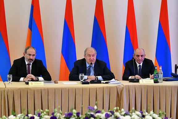 RA Prime Minister Nikol Pashinyan, RA President  Armen Sarkissian and President of Artsakh Bako Sahakyan