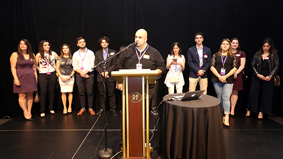 Philip Hovanessian of the Armenian Professional Network Los Angeles Chapter welcomes capacity crowd at AYP Summer Mixer