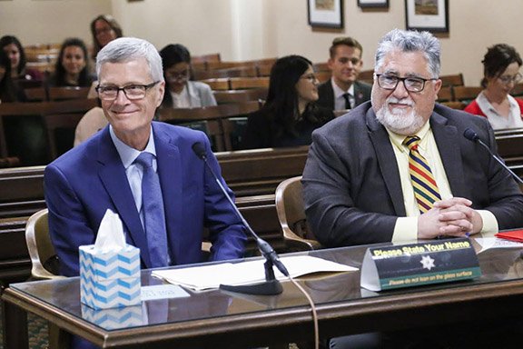 Senator Portantino (right) and GCC President David Viar's testimony on behalf of SB 568 during a higher education assembly