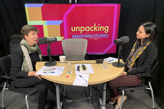 Salpi Ghazarian (left), director of the USC Institute of Armenian Studies, talks to Dr. Lilit Keshishyan on an episode of Unpacking Armenian Studies