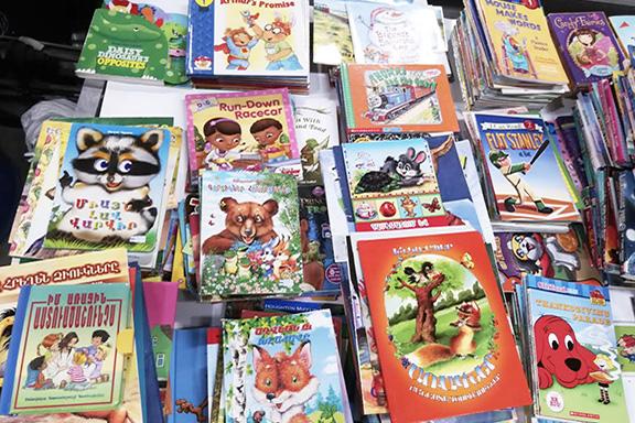 Books donated by Vahan & Anoush Chamlian Armenian School students
