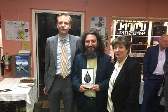 "From l to r: Author of ""Mr. Five Per Cent"" Jonathan Conlin, Arno Yeretzian of Abril Bookstore, and Director of the USC's Institute of Armenian Studies Salpi Ghazarian at Abril Bookstore"