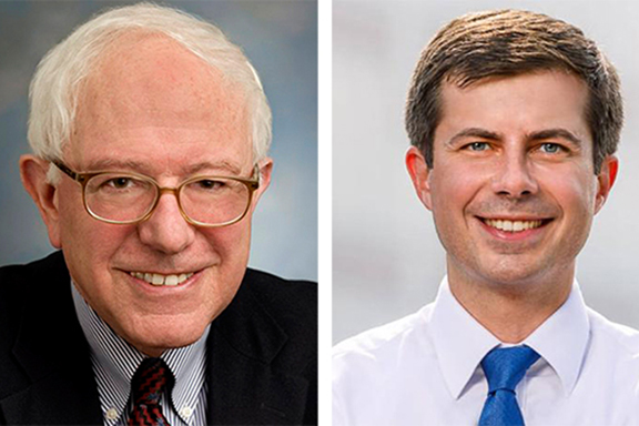 Senator Bernie Sanders (left) and  South Bend, Ind. Mayor Pete Buttigieg