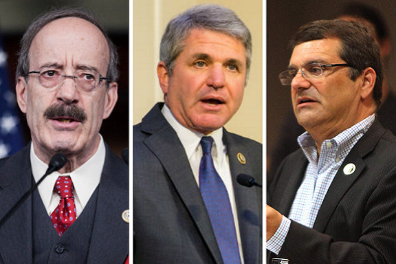 From left, representatives Eliot Engel, Michael McCall  and Gus Bilirakis