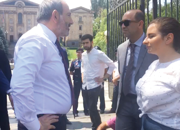Prime Minister Nikol Pashinyan stopped to talk to protesters on June 20