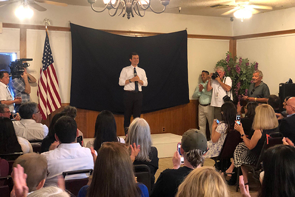 Mayor Pete Buttigieg at a town hall in Fresno, CA where he fielded a question on the Armenian Genocide (Photo by Laura Tsutsui / Valley Public Radio)
