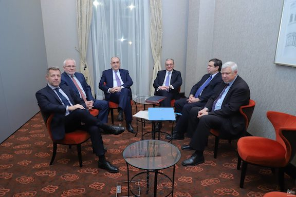 Armenian and Azerbaijani foreign ministers with OSCE Minsk Group Co-chairs at a meeting held in December 2019