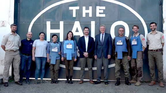 Congressman Frank Pallone and Congressional staff member James Johnson with a portion of the dedicated Artsakh demining team at The HALO Trust in Stepanakert (October 2019).