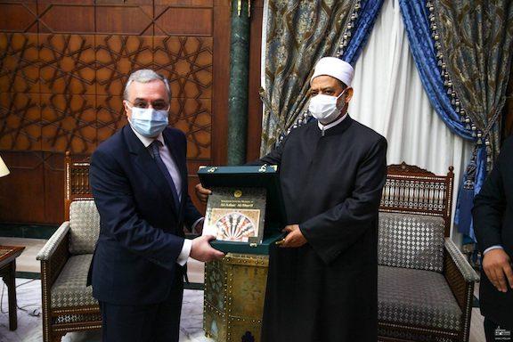Foreign Minister Zohrab Mnatsakanyan with Grand Imam of al-Azhar, Sheikh Ahmad Muhammad al-Tayeb