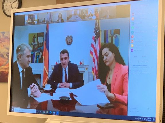Armenia's Ambassador to U.S. Varuzhan Nersesyan (center) take part in the Dialogue