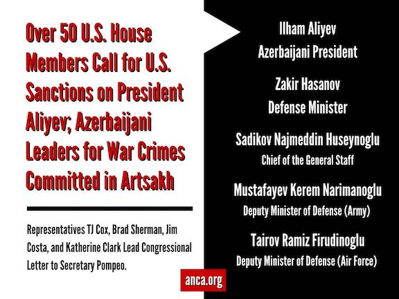 Over 50 House members call for sanctions against Aliyev for war crimes