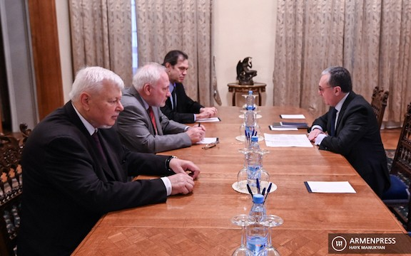 OSCE Minks Group mediators meet with Armenia's Foreign Minister Zohrab Mnatsakanyan in Moscow on Oct. 13