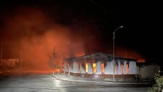 A shop containing toilets, tiles and other housewares burns in Stepanakert on the night of October 3, 2020 after the city is shelled.  © 2020 Union of Informed Citizens.