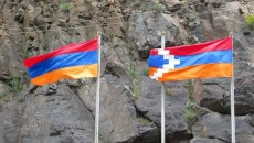 The flags of Armenia and Artsakh