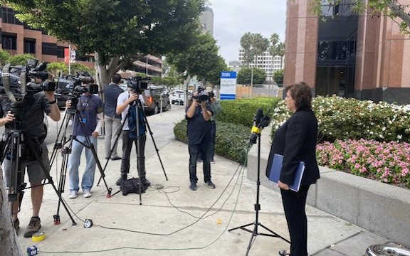 ANCA-WR Board Chair Nora Hovsepian at a press conference following a meeting with Israel's Consul General to LA on Oct. 22
