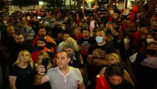 Armenians gathered in front of CBS Studios in Los Angeles to protest its unfair coverage of Sunday's March for Victory for Artsakh