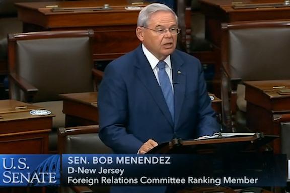 Senator Robert Menendez calls for U.S. sanctions on Turkey and Azerbaijan on the Senate floor on Nov. 17