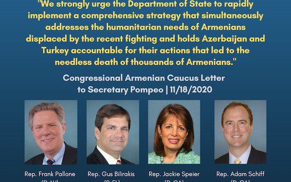 """Congressional Armenian Caucus Co-Chairs called the current ceasefire terms forced on Armenia by Turkey and Azerbaijan """"untenable"""""""