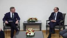France's State Minister Jean-Baptiste Lemoyne (left) with Armenia's Foreign Minister Ara Ayvazyan in Yerevan on Nov. 28