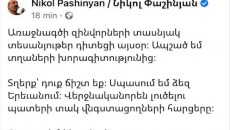 In a Facebook post on Sunday, Pashinyan hinted at a violent confrontation with opposition