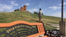 "The author, Raffi Dadaian, visiting the ""We are Our Mountains"" monument in Artsakh"